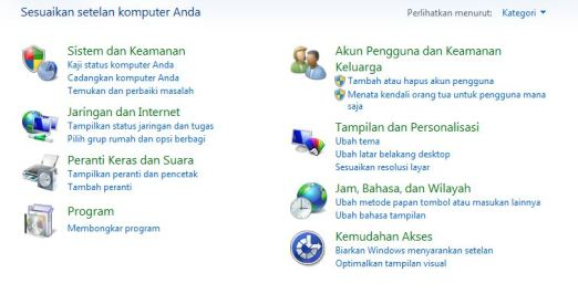 Control Panel Bahasa Indonesia