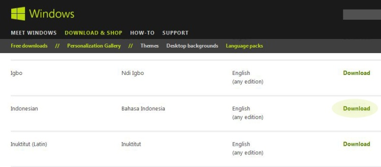 Windows 7 Bahasa Indonesia